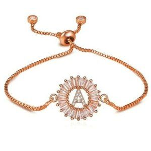 """Rose Gold Round Letter """"A"""" Initial Name Bracelet"""